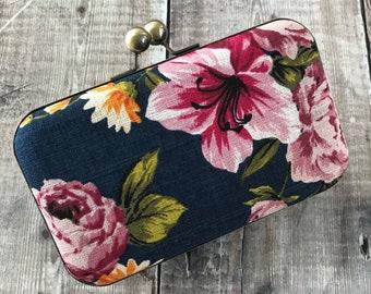 Clutch Bag, bark cloth clutch bag, Prom Bag, Floral print clutch, bridesmaid bag, races bag , spring bag, vintage bag
