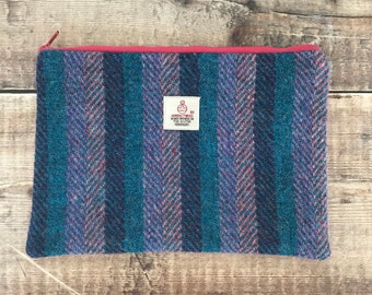 Harris Tweed pouch, Tweed purse, Tweed Bag, zipped pouch, gift for mum, tweed make up bag, striped purse