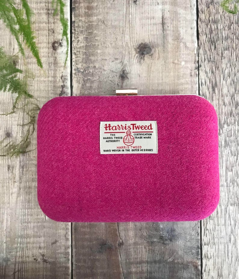 fashionable style discover latest trends new products for Harris Tweed Box Clutch Bag, fucshia clutch bag, neon pink bag, flouro bag,  pink clutch Bag, bridesmaid accessory, Mother's Day gift