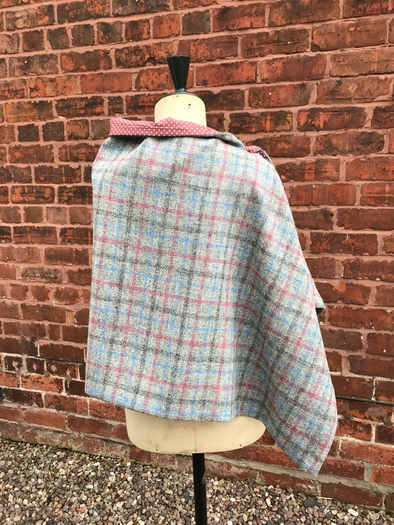 Grey Tweed Cape Grey and blue Cape British Tweed cape Harris Tweed Cape Autumn cape Wool poncho Tweed scarf country show cape