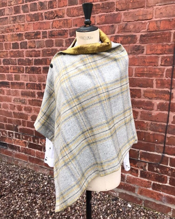 Tweed Cape, Grey Tweed Cape, Wool Poncho, check tweed cape. British Tweed Cape, mustard Cape, tweed scarf, Gift for Mum