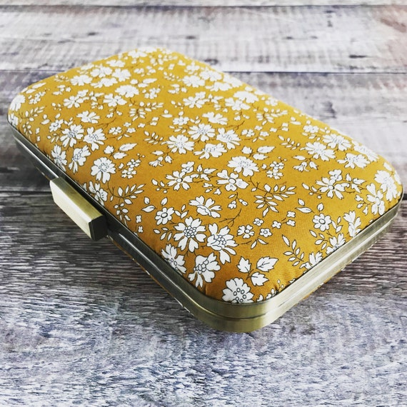 Liberty Clutch Bag, mustard clutch bag, Prom Bag, Capel Mustard print, bridesmaid bag, races bag , spring bag, Liberty Addict