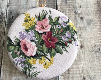Bark Cloth Clutch Bag, round clutch bag, Rose Print Bag, Vintage Bag, Pink bag, bark cloth  Bag, vintage Rose Bag