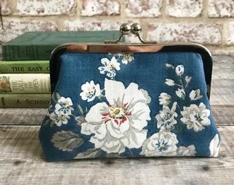 Floral purse, Sanderson print purse, Floral Bag, vintage print bag , gift for mum, cotton make up bag,