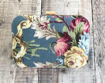 Vintage Rose Clutch Bag, Bark Cloth Bag, Floral Bag, Bright coloured Bag, Clutch Bag, vintage bark cloth, gift for her