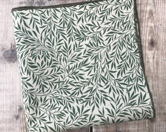 Liberty London Pocket Square, Green pocket square, Liberty Willow Wood, Hankerchief, Groom Accessory, Best Man gift,