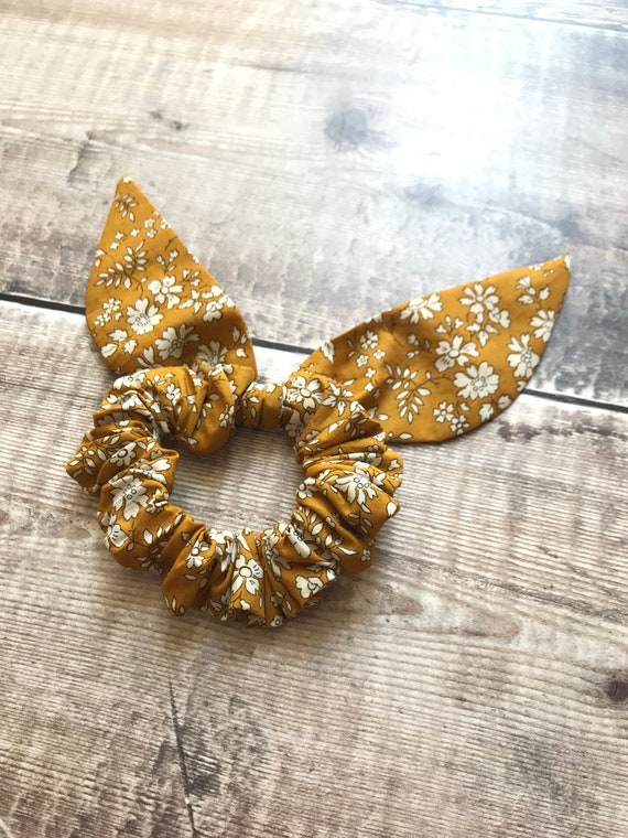 Liberty Print Srunchie, floral hair accessory, scrunchie, mustard scrunchie , Mustard Capel, Floral scrunchie, Liberty Srunchie