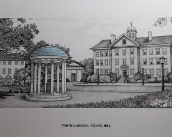 """North Carolina Chapel Hill Old Well 11""""x14"""" pen and ink print"""
