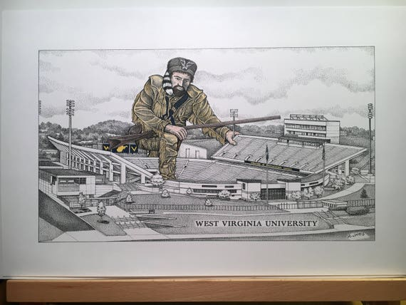 West Virginia Football Stadium 11 X17 Pen And Ink Print And Hand Colored Mountaineer