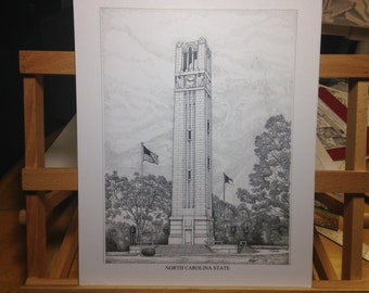 NC State Bell Tower pen and ink print