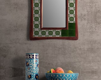 Green and White Tile Wall Hanging Mirror 14X18 inch