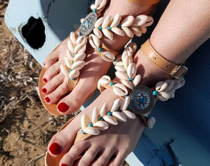 Greek sandals/gladiator sandals/strappy sandals/shells sandals/hippie sandals/handmade sandals/boho sandals/bohemian sandals/leather sandals