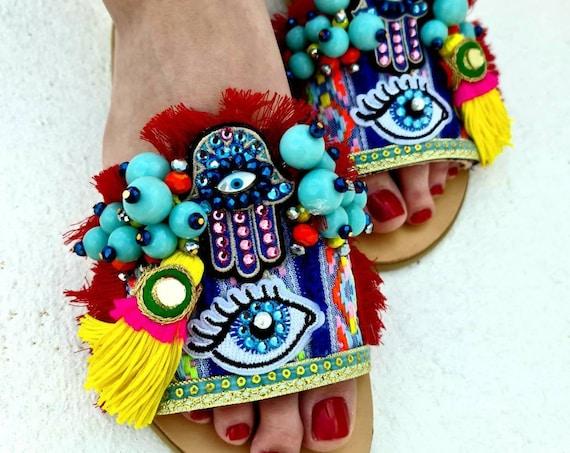 Greek sandals slides/evil eyes sandals/handmade Sandals/bohemian Sandals/boho Sandals slides/gypsy Sandals/hippie sandals/ethnic Sandals