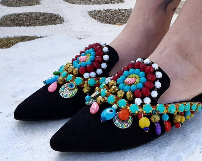 Greek mules/embellished mules/sparkle /shoes/colorful shoes/handmade mules/women shoes/luxury/leather shoes/flats/crystal shoes