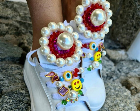 Handmade sneakers/pearls sneakers embellished sneakers/evileye/bohemian/boho shoes/colorful shoes/crystals shoes/leather sneakers