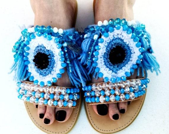 Evil eye Greek sandals/handmade Sandals/bohemian Sandals/ethnic shoes/women sandals/bohi sandals/ tassels/crochet/crystals sandals/luxury