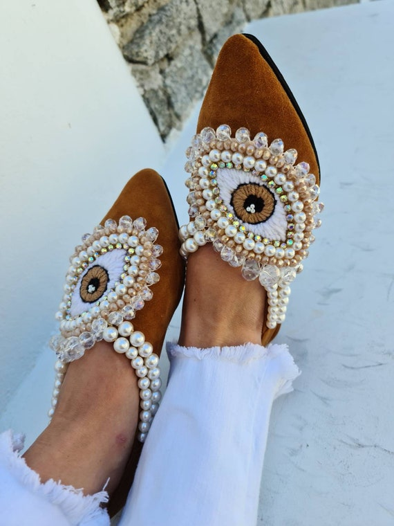 Evil eye shoes/Greek leather shoes/crystal beads/handmade shoes/hand embroidery/women shoes/bohemian shoes/gypsy shoes/pearls shoes