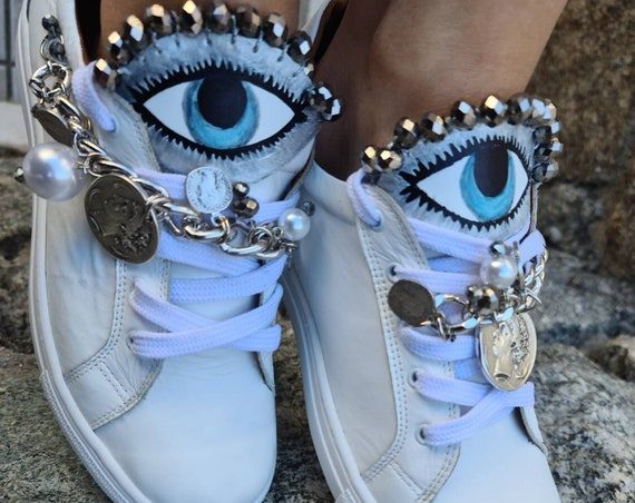 Evil eye shoes/evil eyes sneakers/handmade shoes/women shoes/bohemian sneakers/boho athletic shoes/ethnic/genuine leather sneakers/luxury