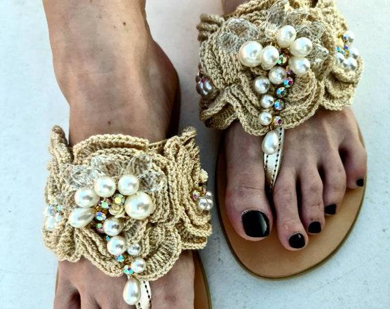 Greek sandals/crochet/crystals sandals/pearls Sandals/luxury sandals/handmade Sandals/women shoes/bohemian/wedding sandals/boho/gold sandals