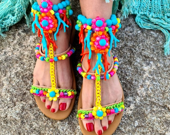Greek leather gladiator Sandals/colorful Sandals/strappy Sandals/women shoes/bohemian Sandals/boho Sandals/crystals beads Sandals/handmade