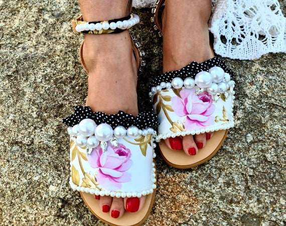 Greek leather Sandals/patchwork Sandals/roses Sandals/pearls Sandals/crystals Sandals/women shoes/summer shoes/handmade Sandals/embellished