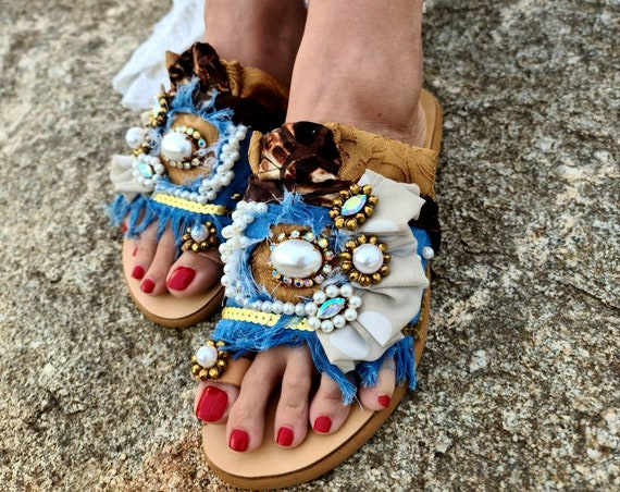Greek sandals slides/pearls slides/crystals slides/patchwork slides sandals/crystals beads/bohemian/boho/handmade Sandals/summer shoes/flats