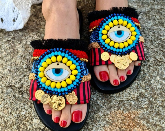 Greek leather Sandals/evileye/genuine leather/bohemian/colorful Sandals slides/ethnic shoes/handmade Sandals/women shoes/boho Sandals/gypsy