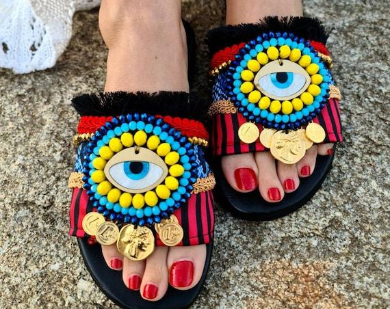 Greek leather Sandals/evileye/genuine leather/bohemian/colorful Sandals slides/ethnic shoes/handmade Sandals/women shoes/boho Sandals/gypsy