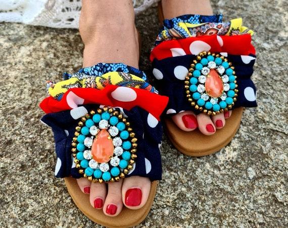 Patchwork fabrics Greek sandals slides/colorful Sandals/crystals beads sandals/genuine leather sandals/handmade/bohemian/boho/summer shoes