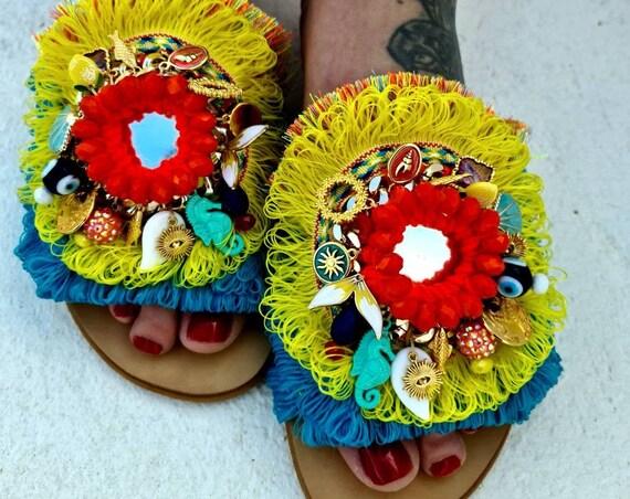 Boho Sandals slides/Greek sandals/bohemian shoes/gypsy Sandals/hippie sandals/handmade/crochet/mirror/colorful Sandals slides/evileye Sandal