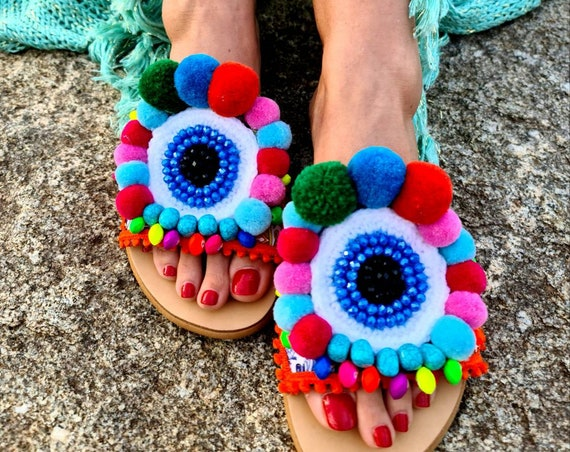 Greek sandals slides/pompoms sandals/evil eye/evileye Sandals/crystals beads slides/handmade shoes/embroidery slides/hand crocheted sandals