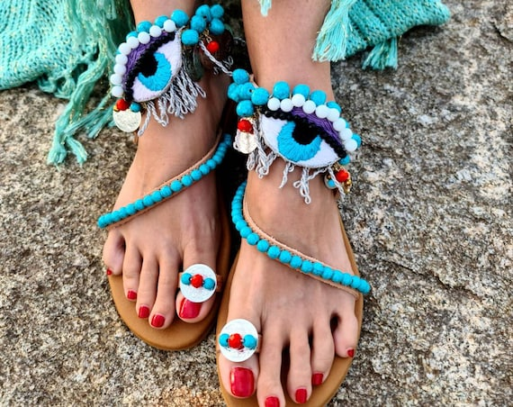 Evileye Sandals/gladiator Sandals/strappy Sandals/embroidery Sandals/bohemian Sandals/boho Sandals/ethnic Sandals/women Sandals/Greek sandal