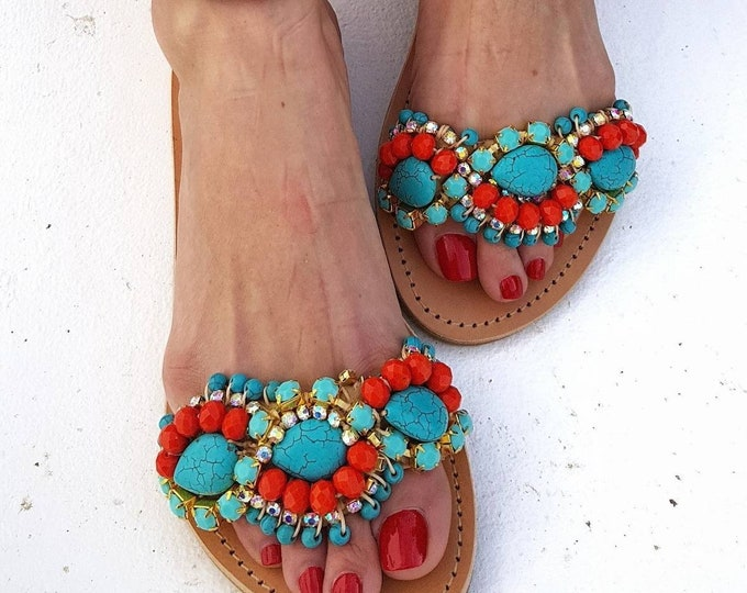 Greek sandals/handmade/boho sandals/ethnic/luxury/women shoes/colorful/crystals sandals/genuine leather sandals/sparkle/flats/summer shoes