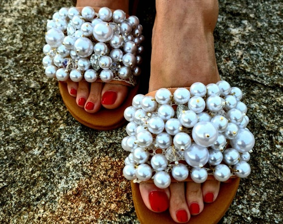 Pearls Sandals slides/genuine leather Sandals/crystals slides/crystal beads Sandals /wedding Sandals/bridal Sandals/women shoes/handmade