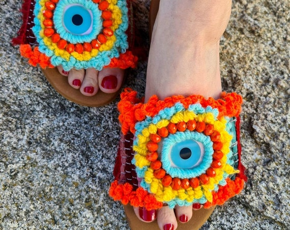 Greek sandals slides/evileye ragrug sandals/colorful Sandals handmade/embroidery sandals slides/bohemian Sandals/gypsy Sandals/boho Sandals/
