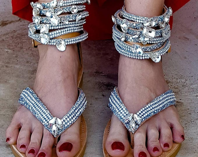 DHL FREE/Greek sandals/gladiator/wedding sandals/bridal sandals/crystals sandals/genuine leather/handmade sandals/sparkly/strappy/women's