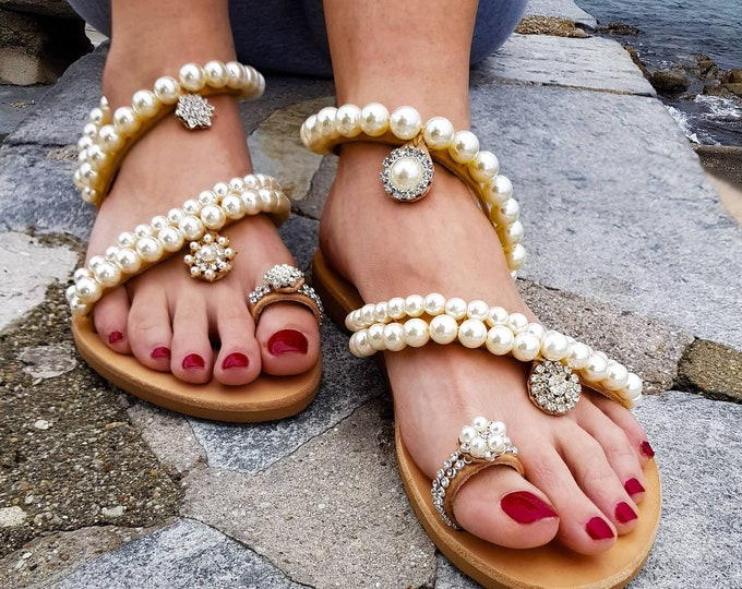 Greek sandals/pearl sandals/leather sandals/wedding sandals/pearls/women's shoes/bridal/handmade/sparkly/crystals sandals/flat shoe
