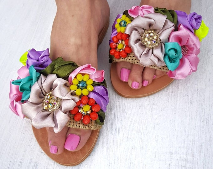 Greek sandals/handmade/embroidery/boho/crystals/colorful/hand embroidery/luxury sandals slides/women shoes/leather slides sandals/flats