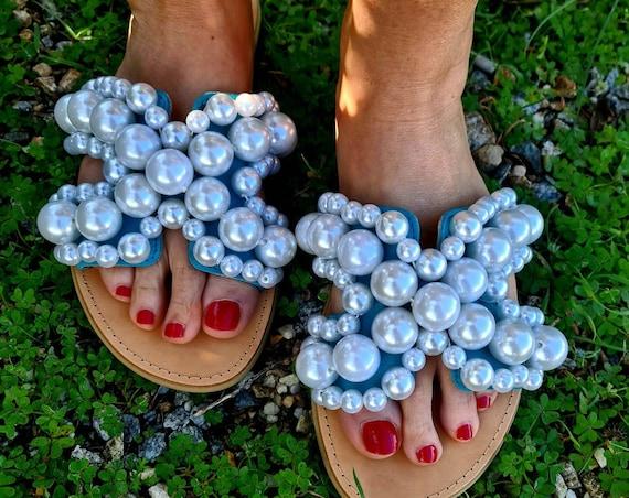 Greek leather Sandals/pearls Sandals slides genuine leather/turquoise Sandals slides with pearls/bohemian Sandals/luxury/handmade/wedding