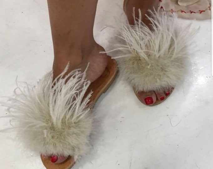 Greek sandals,slides,ostrich feathers,beige slides,women shoes,Handmade shoes,flats,leather slides,sandals,summer shoes,handmade sandals