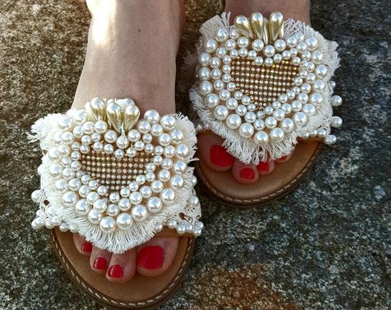 Greek sandals/pearls sandals slides with heel/heel sandals slides/crystals rhinestones sandals/fringes sandals slides/handmade/wedding/bride
