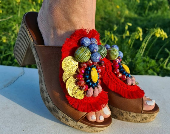 Heeled Handmade Sandals slides/slip on with heels/colorful Sandals/genuine leather Sandals/bohemian Heeled Sandals/boho shoes/chunky/luxury