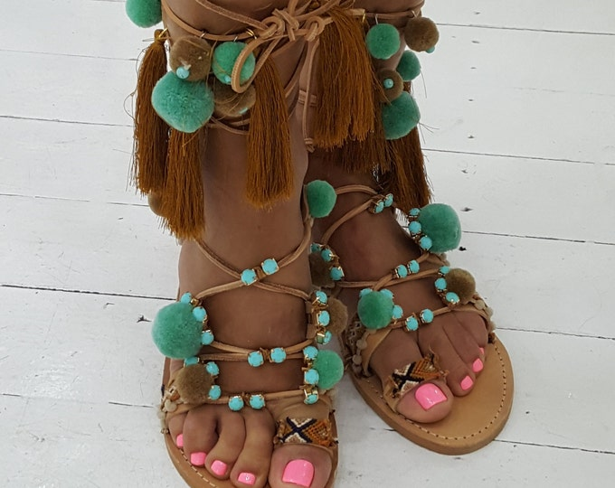 boho Greek sandals,pompoms sandals,luxury sandals tassels,ethnic,gladiators sandals,women sandals,handmade sandals,strappy sandals
