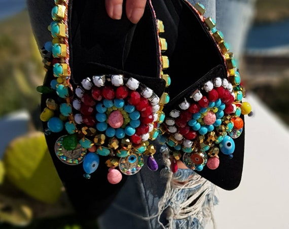 Greek mules/embellished mule/sparkle /shoes/colorful shoes/handmade mules/women shoes/luxury/leather shoes/crystal shoes/boho shoes/fashion