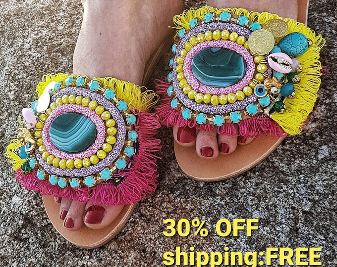 Greek sandals/boho sandals/colorful sandals/handmade sandals/bohemian sandals/shells sandals/women shoes/gypsy sandals/boho slides sandals