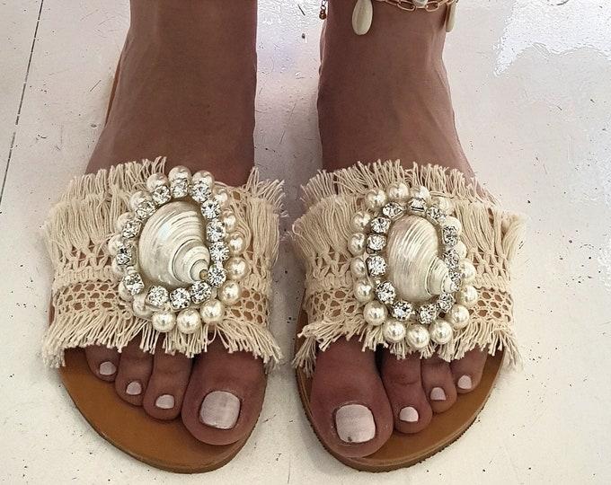 slides sandals/sea shell sandals/crystal sandals/wedding sandals/handmade slides/qenuine leather sandals/flats/luxury/women Greek sandals