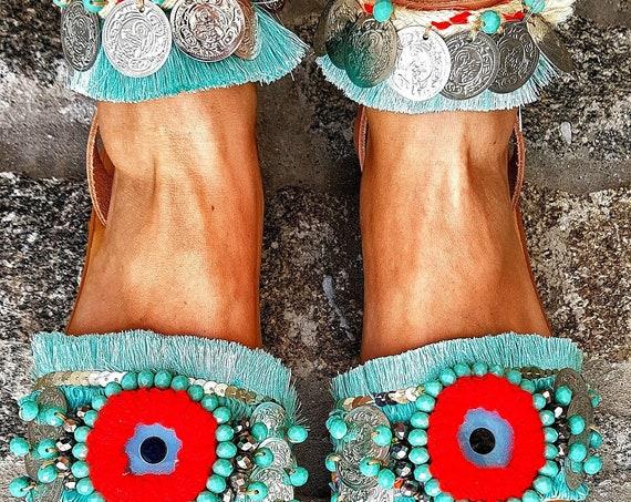 Greek sandals /evil eye sandals/boho sandals/handmade sandals/bohemian sandals/ethnic/crystal bead/boho sandals,/coins sandals/gypsy/hippie