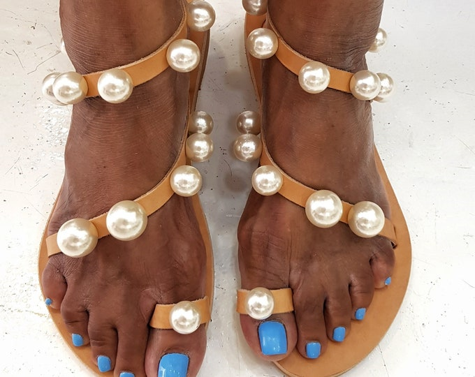 Greek sandals/pearl sandals/gladiator sandals/women shoes/boho sandals/leather sandals/embellished/luxury sandals/wedding sandals/summer