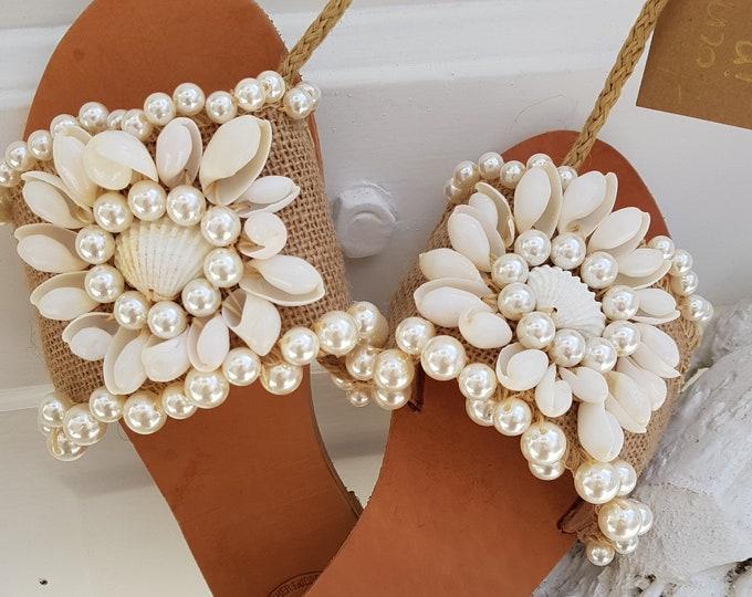 Greek sandals/seashells slides sandals/handmade/boho wedding sandals/women shoes/pearls sandals slides/leather sandals/embellished/flats
