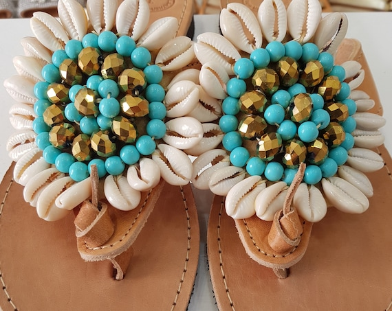 Greek sandals/sea shells/handmade/boho sandals/ethnic sandals/crystal sandals/embellished/flats/women shoes/leather sandals/summer shoes